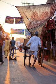 Light of the setting sun backlights a man pushing a cart, Pushkar, Rajasthan, India