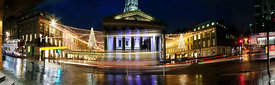 Night time panoramic pictures on Queen Street, Glasgow..23.11.12.Gallery of Modern Art, Royal Exchange Square..Picture Copyri...