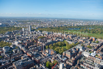 Aerial view of Grosvenor Square and Mayfair, London