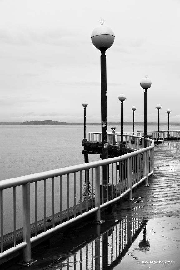 SEATTLE WATERFRONT PROMENADE BLACK AND WHITE VERTICAL