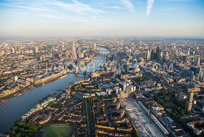 Aerila view of London, Wapping with Tower Bridge and The Shard.