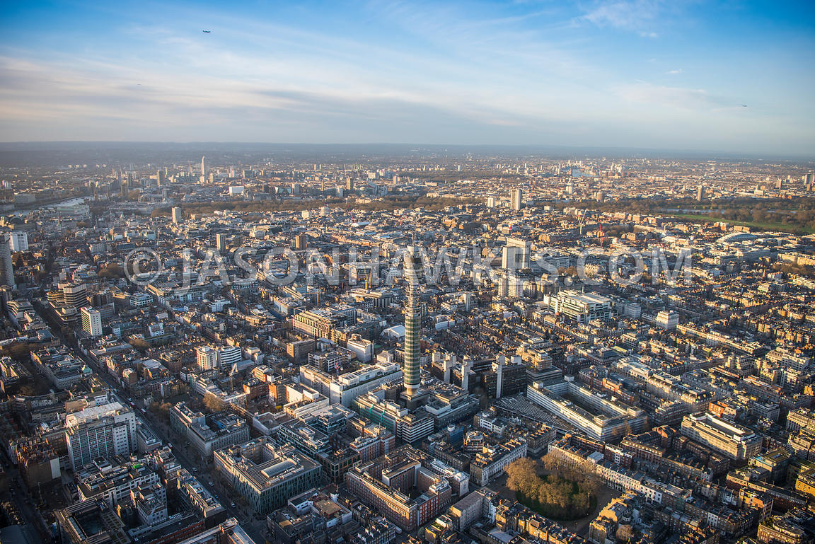 Aerial view of London, Fitzrovia towards Marylebone and Mayfair.