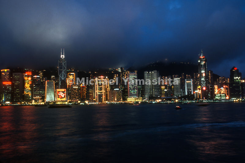Hong Kong Harbor - night scenes.Hong Kong, China