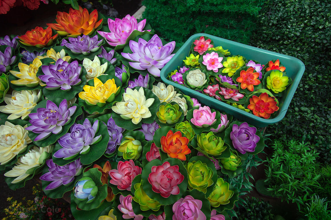 Plastic lotus flowers for sale at Crawford Market, Mumbai, India,