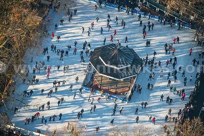Aerial view of people ice skating in Hyde Park, London