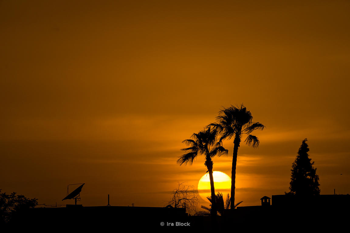 Sunset over Marrakesh in Morocco