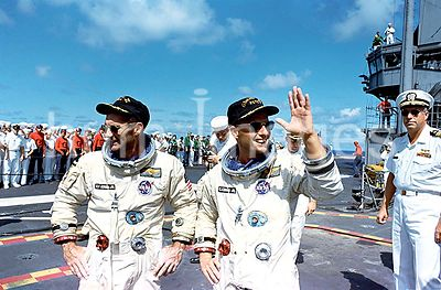 (091566) - The Gemini 11 prime crew, Astronauts Charles Conrad, Jr. (right) and Richard F. Gordon, Jr. stand on the deck of t...