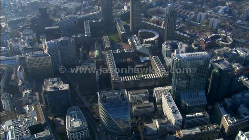 Aerial footage over The Barbican, City of London, England, UK