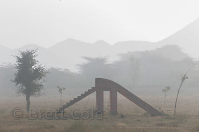Misty morning in the desert at a school playground, Nagaur village Rajasthan, India
