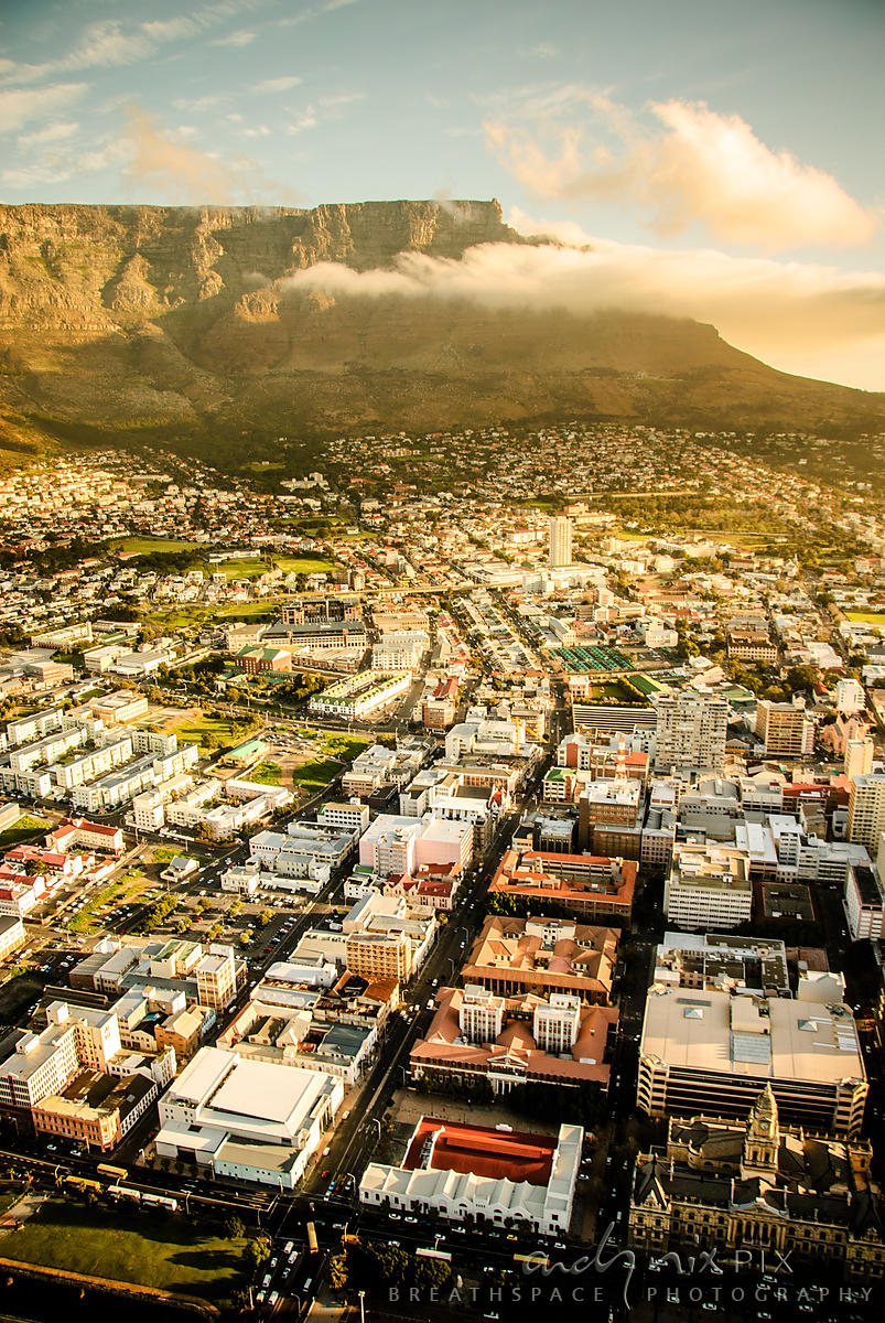 Aerial view of Cape Town City Bowl, Table Mountain and Lion's Head