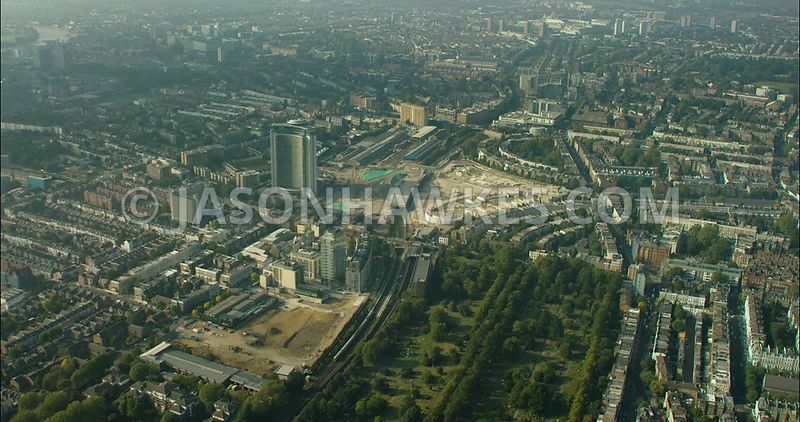 London Aerial Footage of Brompton Cemetery and Earls Court.