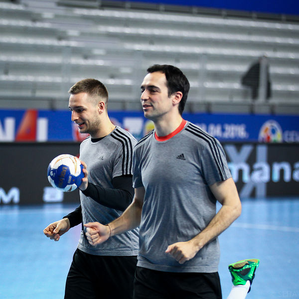 Gašper MARGUČ, Christian UGALDE of Veszprem during the Final Tournament - Final Four - SEHA - Gazprom league, training, Varaz...