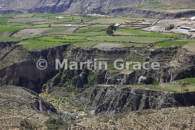 Old Inca terracing on walls of gorge below cultivated land, Putre, Region XV Arica-Parinacota, Chile