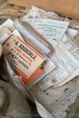 Old market agent labels in a disused packing shed lTamar Valley, Cornwall. © Jo Whitworth