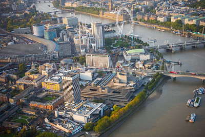 Aerial view of London, London Eye, Jubilee Gardens with Waterloo Station.