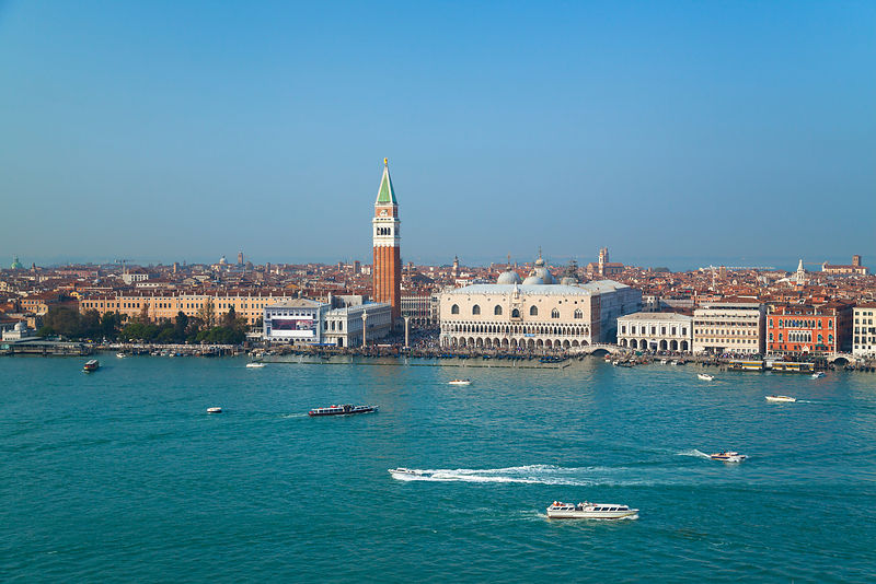 Italy, Venice, View of Canal Grande, St Mark Campanile and Dog's Palace