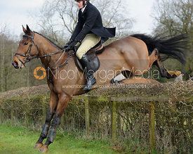 George Henderson jumping a hedge