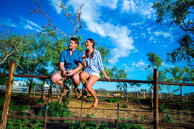 Couple relaxing at an outback station Western Australia