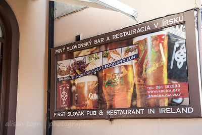 Sign for Slovak pub and restaurant, Salthill, Ireland