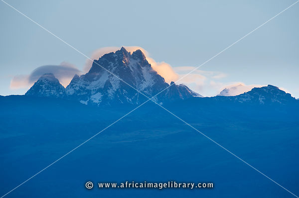 Peak of Mount Kenya at sunrise, Mount Kenya National Park, Kenya