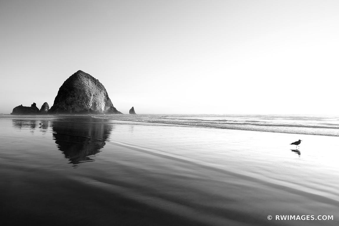 HAYSTACK ROCK SUNSET CANNON BEACH OREGON COAST BLACK AND WHITE