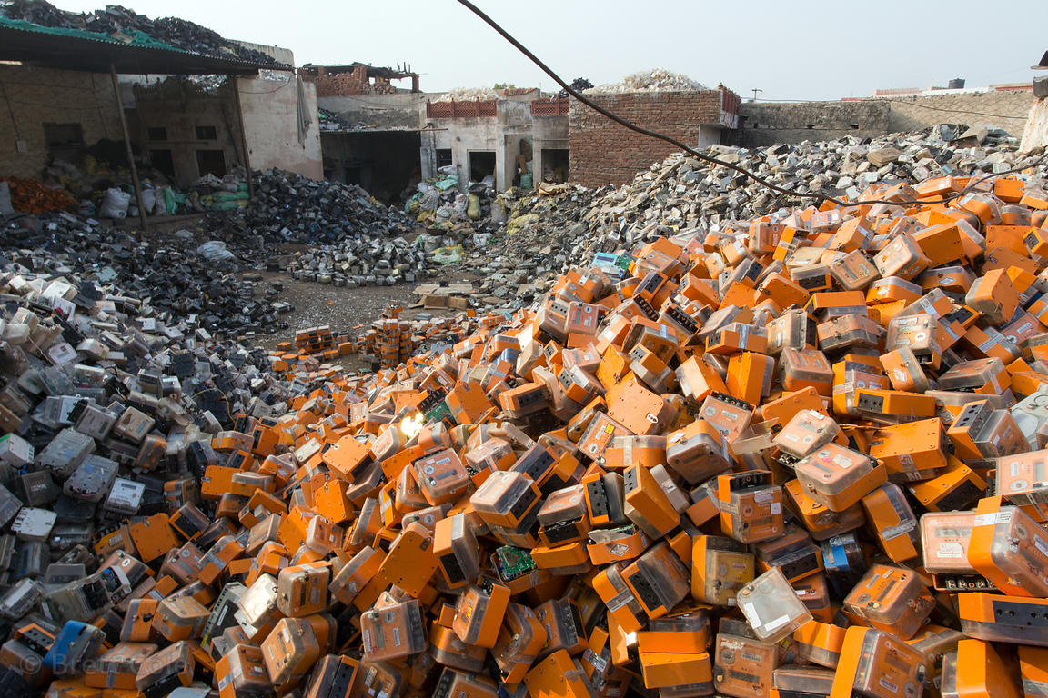 Large number of electrical boxes being recycled, Gulab Bari, Ajmer, Rajasthan, India