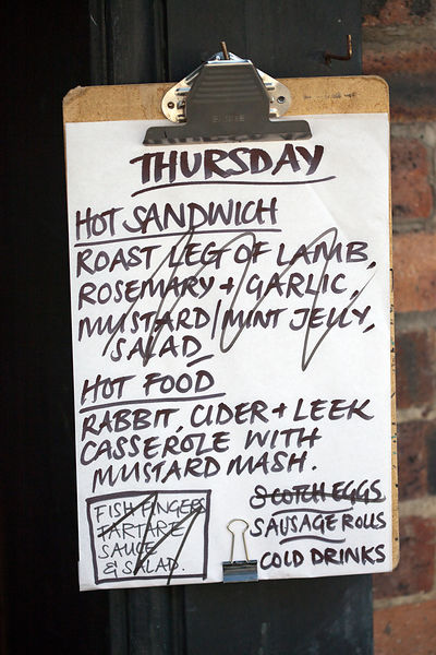 UK - London - A daily menu listing sandwiches in A. Gold, a deli in Spitalfields Market