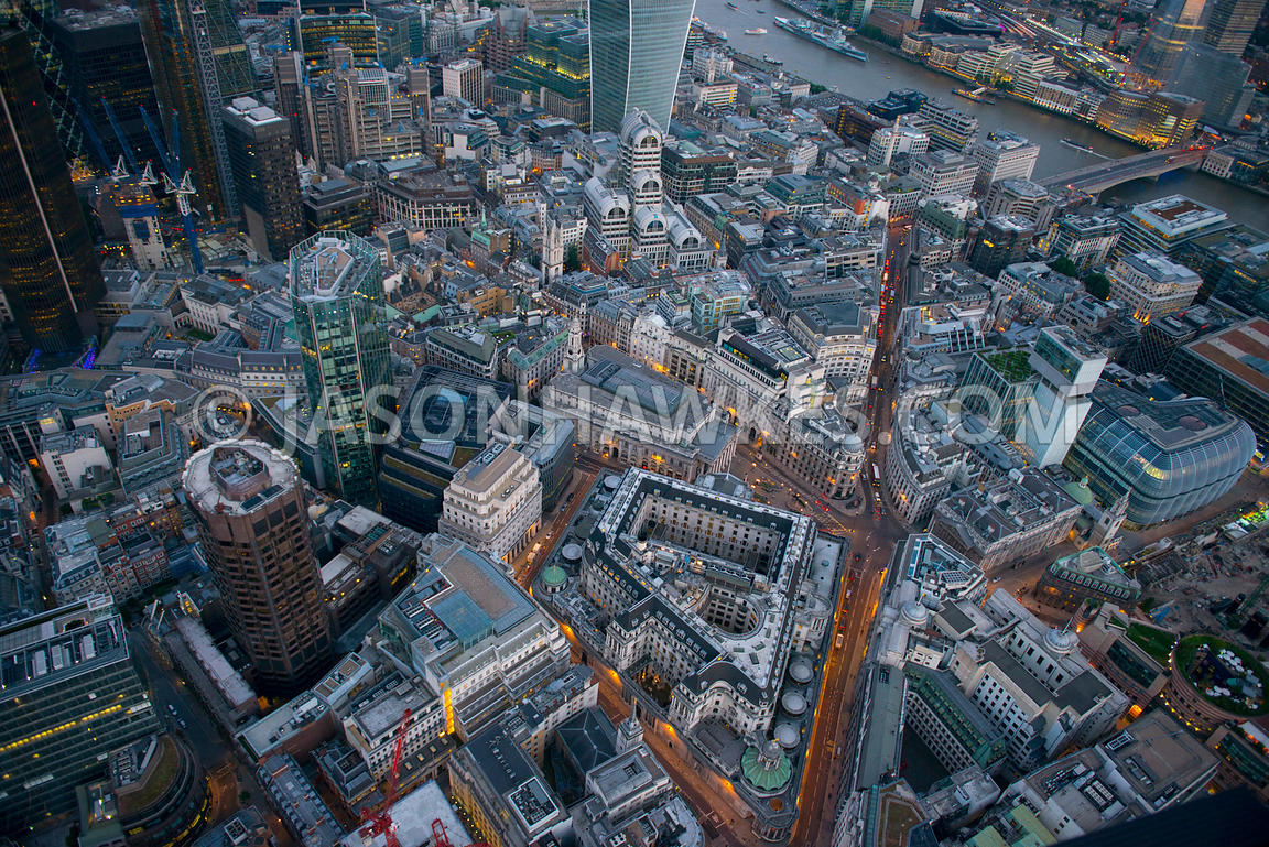 Aerial view over Bank at dusk, London