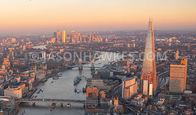 Aerial view of London Bridge, River Thames and the Shard, London