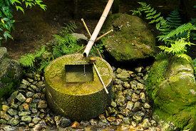 Shishi Odoshi, a type of water fountain at Ryōan-ji, a Zen temple located in northwest Kyoto, Japan.