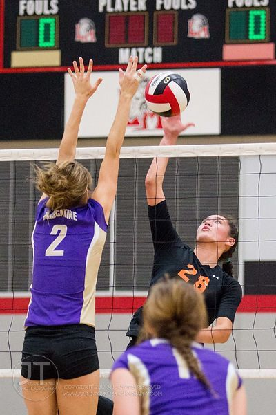 Solon's Vik Meade (28) volleys over Muscatine's Kaylie Miller (2) at the 2012 Linn-Mar Varsity Volleyball Tourney Saturday, S...