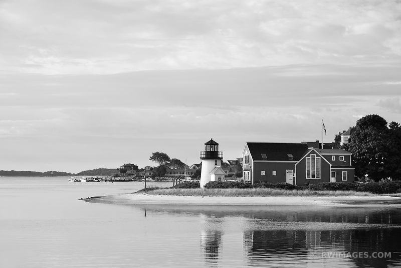 HYANNIS HARBOR LIGHTHOUSE CAPE COD BLACK AND WHITE