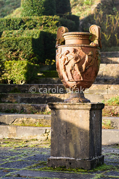 Terracotta urn in the Fountain Court at Mapperton, Dorset