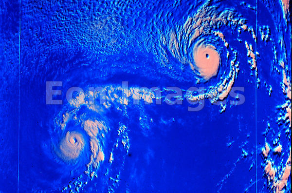 Satellite picture of typhoons Ione and Kristen, 1974