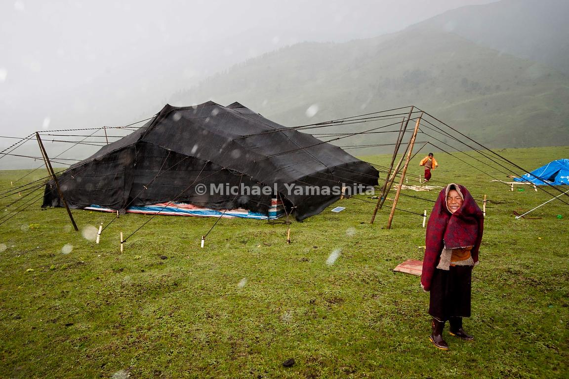 Traditional black yak-hair tents have sheltered Nomad families for centuries from the harsh and unpredictable weather of the ...