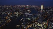 Aerial footage of the Shard at night, Southwark, London