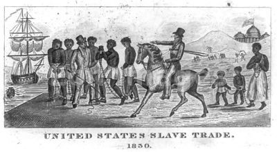 Abolitionist print from 1839 depicting slaves brought to United States