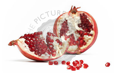 pomegranate on white background