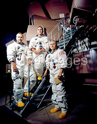 13 Nov. 1968 - The prime crew of the Apollo 8 lunar orbit mission. L to R, are James A. Lovell Jr., command module pilot; Wil...