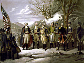George Washington and other officers during American Revolution