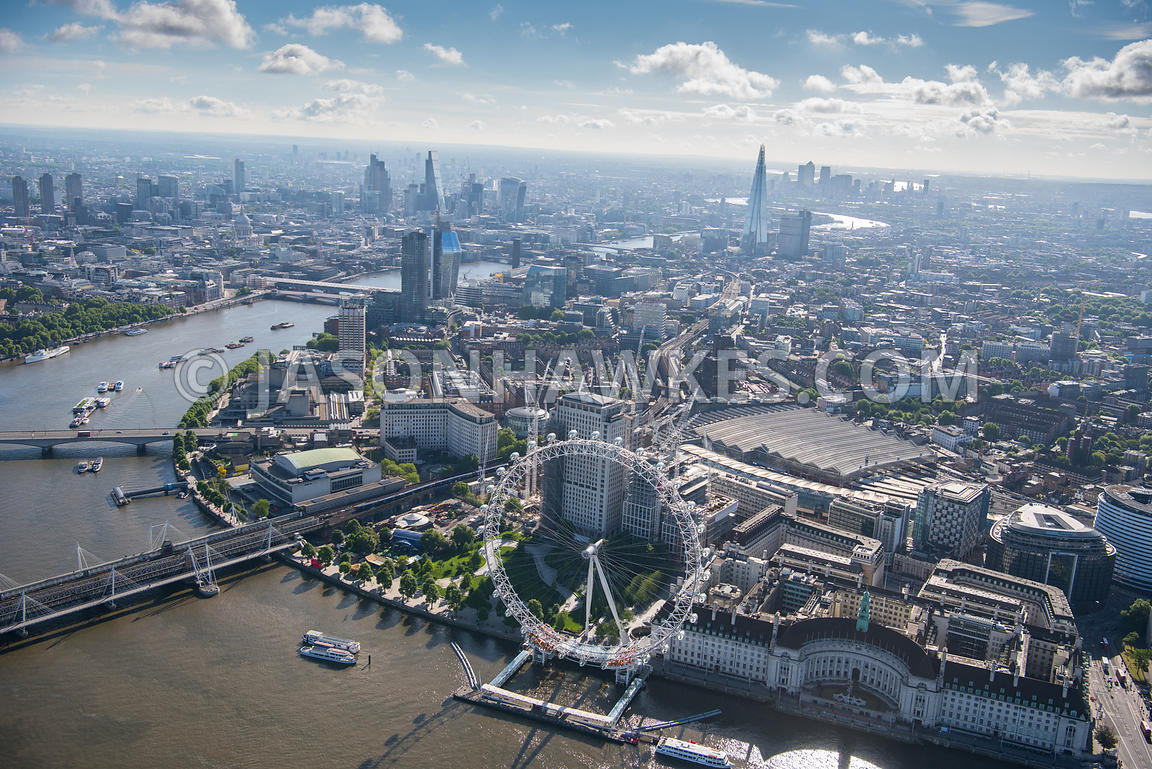 Aerial view of London River Thames and  London Eye