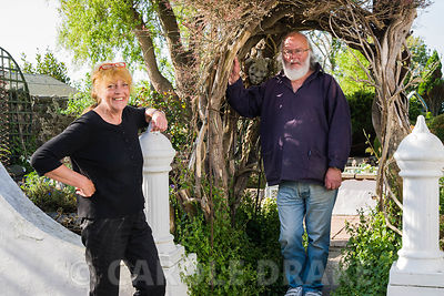 Val and Gavin Robbins, owners and makers of the garden at 24 Bude Street, Appledore, Devon, UK