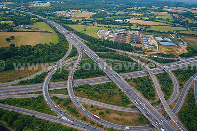 Aerial view over juntion of m25 and M3 motorways