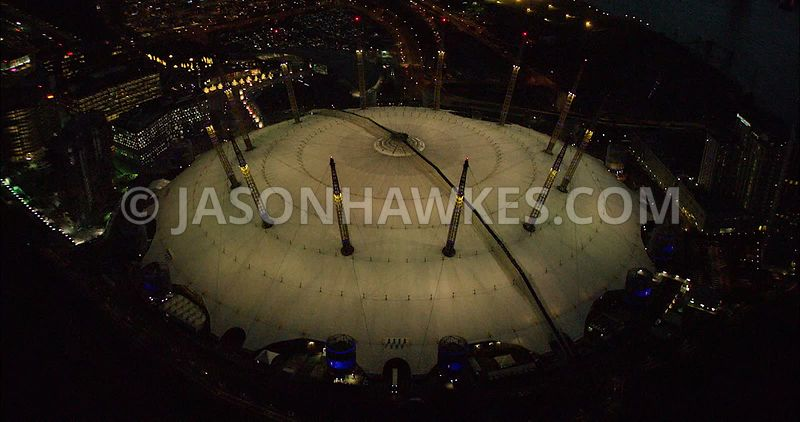 London night aerial footage, O2 Arena close up