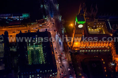 Aerial view of the Houses of Parliament at night, London
