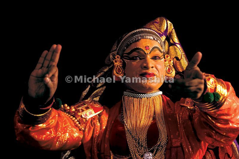Kathakali actors use dramatic hand gestures, stylized make-up and facial expressions to convey their stories.
