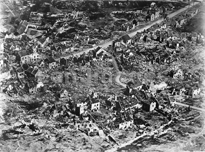 Aerial view of ruins of Vaux France in 1918