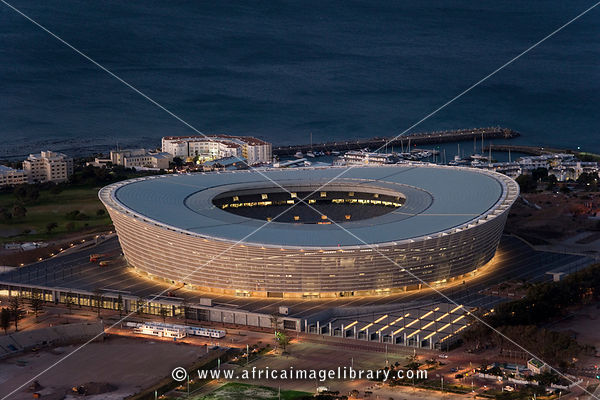 View over Cape Town Stadium at dusk, South Africa