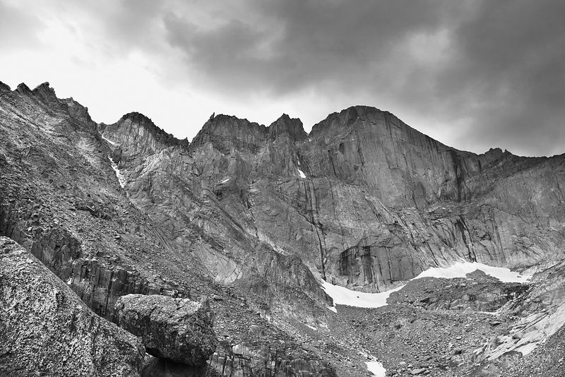 LONGS PEAK DIAMOND FACE ROCKY MOUNTAIN NATIONAL PARK COLORADO BLACK AND WHITE