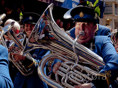 a tuba player in the Helston Flora Day parade